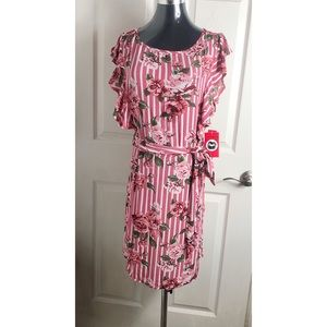 Hot Kiss Red & White Striped Floral Midi Dress NWT